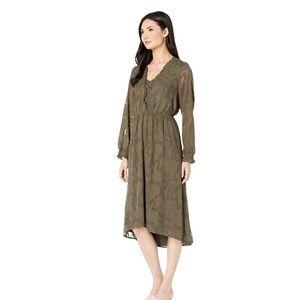 Kensie olive green floral long sleeve dress large